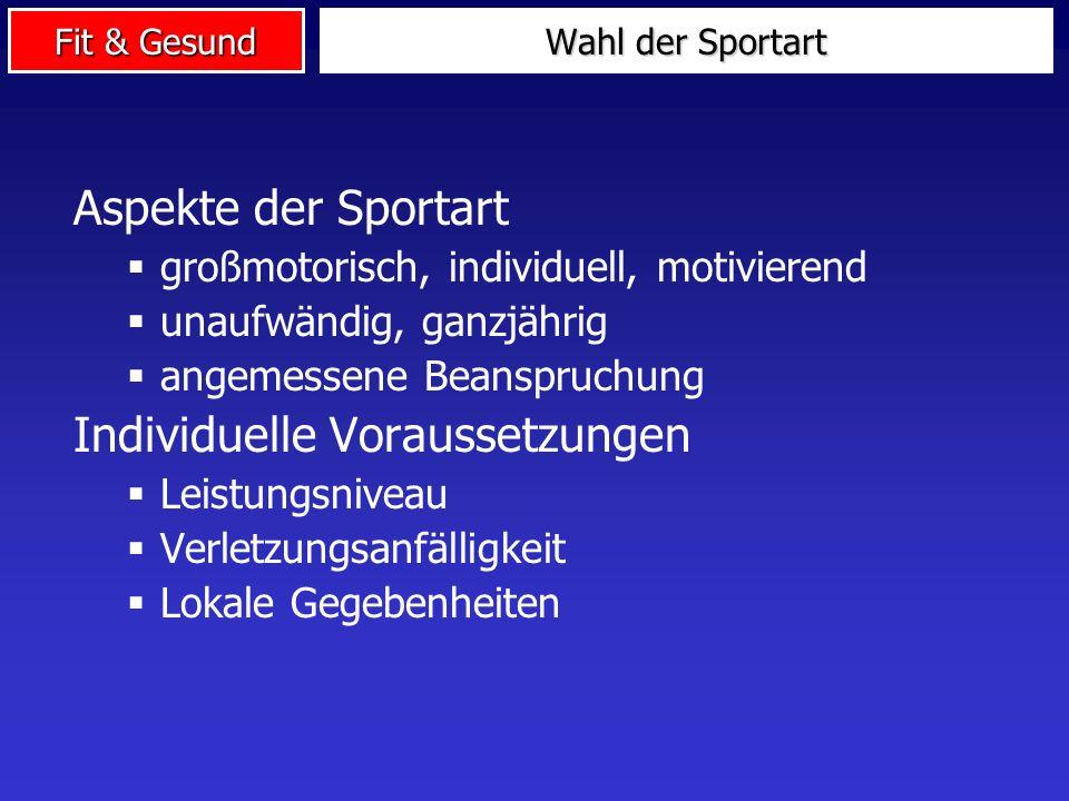Fit & Gesund Aspekte der Sportart großmotorisch, individuell, motivierend unaufwändig, ganzjährig angemessene Beanspruchung Individuelle Voraussetzung