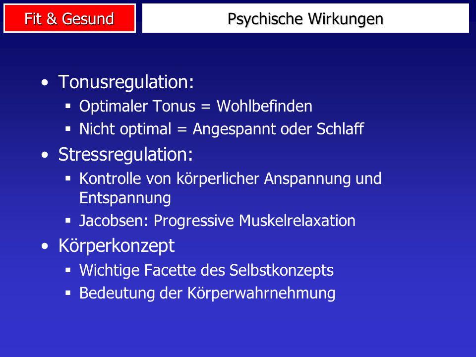 Fit & Gesund Psychische Wirkungen Tonusregulation: Optimaler Tonus = Wohlbefinden Nicht optimal = Angespannt oder Schlaff Stressregulation: Kontrolle