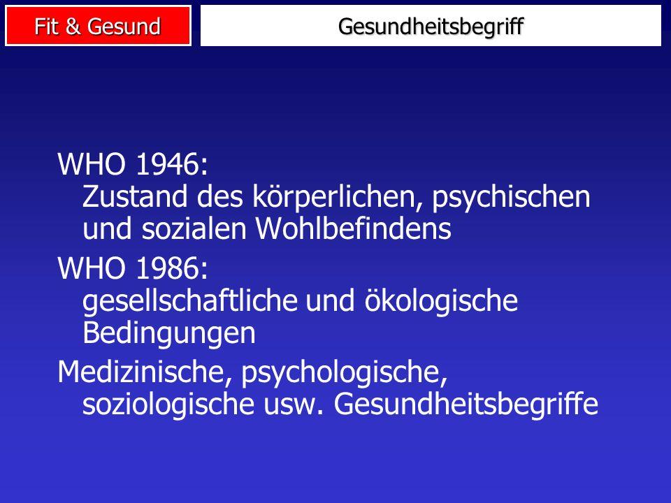 Fit & Gesund WHO 1946: Zustand des körperlichen, psychischen und sozialen Wohlbefindens WHO 1986: gesellschaftliche und ökologische Bedingungen Medizinische, psychologische, soziologische usw.