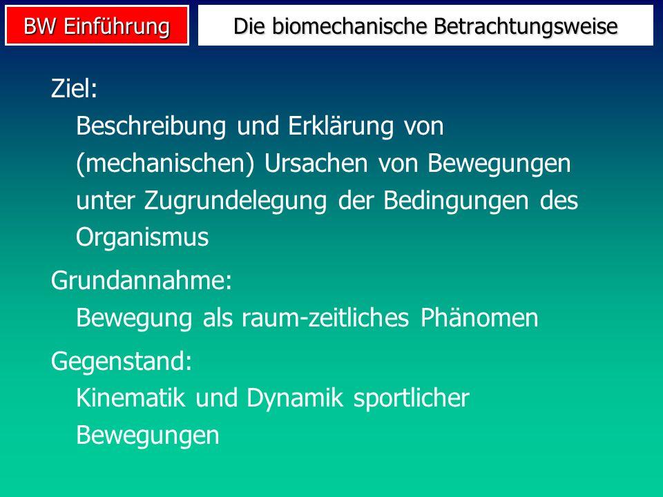 BW Einführung Ziel: Beschreibung und Erklärung von (mechanischen) Ursachen von Bewegungen unter Zugrundelegung der Bedingungen des Organismus Grundann