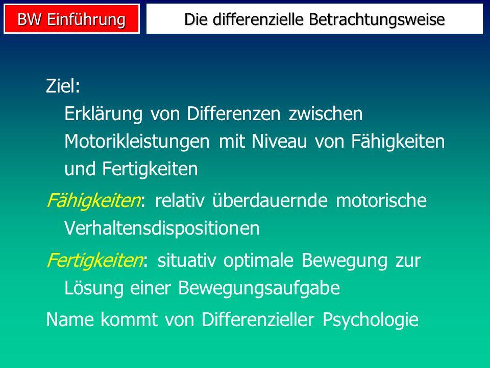 BW Einführung Ziel: Erklärung von Differenzen zwischen Motorikleistungen mit Niveau von Fähigkeiten und Fertigkeiten Fähigkeiten: relativ überdauernde