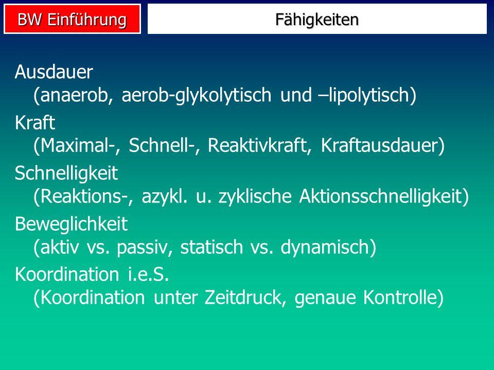 BW Einführung Fähigkeiten Ausdauer (anaerob, aerob-glykolytisch und –lipolytisch) Kraft (Maximal-, Schnell-, Reaktivkraft, Kraftausdauer) Schnelligkei