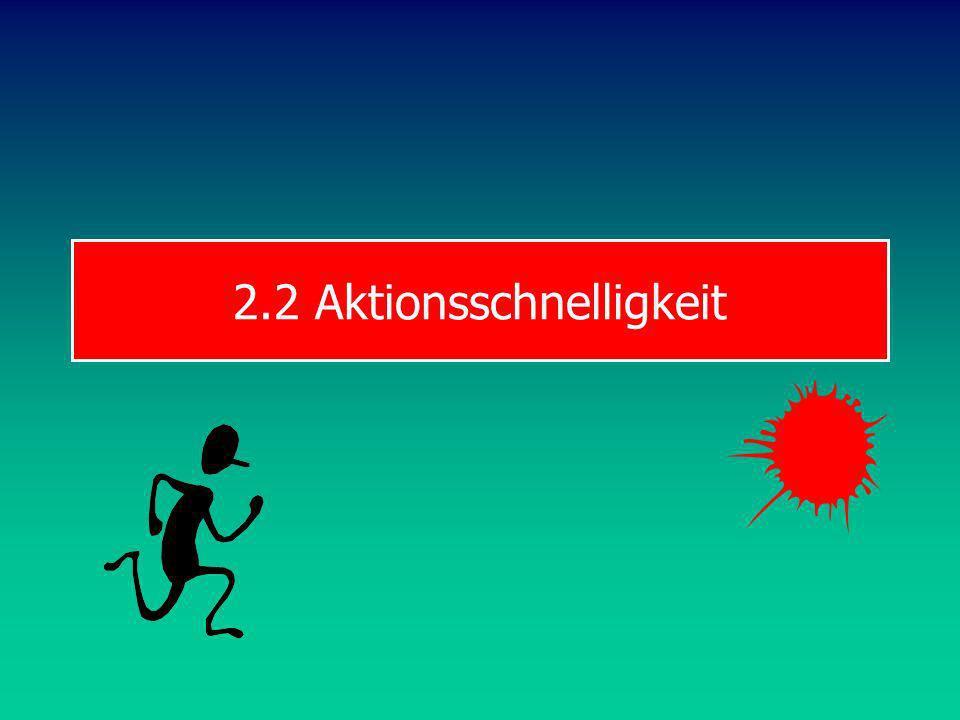 TRW S & B Reaktionszeit 100m-Lauf ca. 0.20s (bis 0.15s) unter 0.10s Fehlstart Achtung! Boxen, Fechten, 7m-Halten, Retournieren: keine Reaktionsschnell