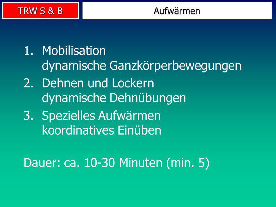 TRW S & B Vor Dehnung mobilisieren! Intensität hoch, jedoch nicht bis an die Schmerzgrenze! Auf korrekte Ausführung achten! Dosierungsempfehlung Train