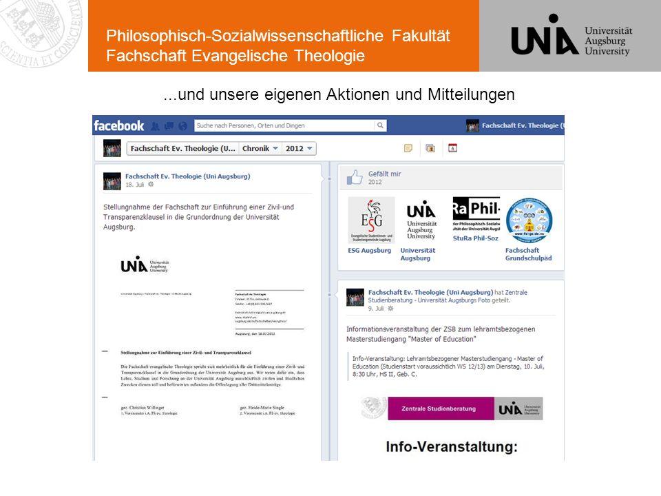 Philosophisch-Sozialwissenschaftliche Fakultät Fachschaft Evangelische Theologie...und unsere eigenen Aktionen und Mitteilungen