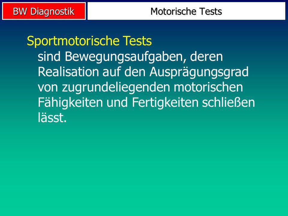 BW Diagnostik Motorische Tests Sportmotorische Tests sind Bewegungsaufgaben, deren Realisation auf den Ausprägungsgrad von zugrundeliegenden motorisch