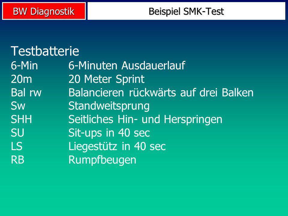BW Diagnostik Beispiel SMK-Test Testbatterie 6-Min6-Minuten Ausdauerlauf 20m20 Meter Sprint Bal rwBalancieren rückwärts auf drei Balken SwStandweitspr