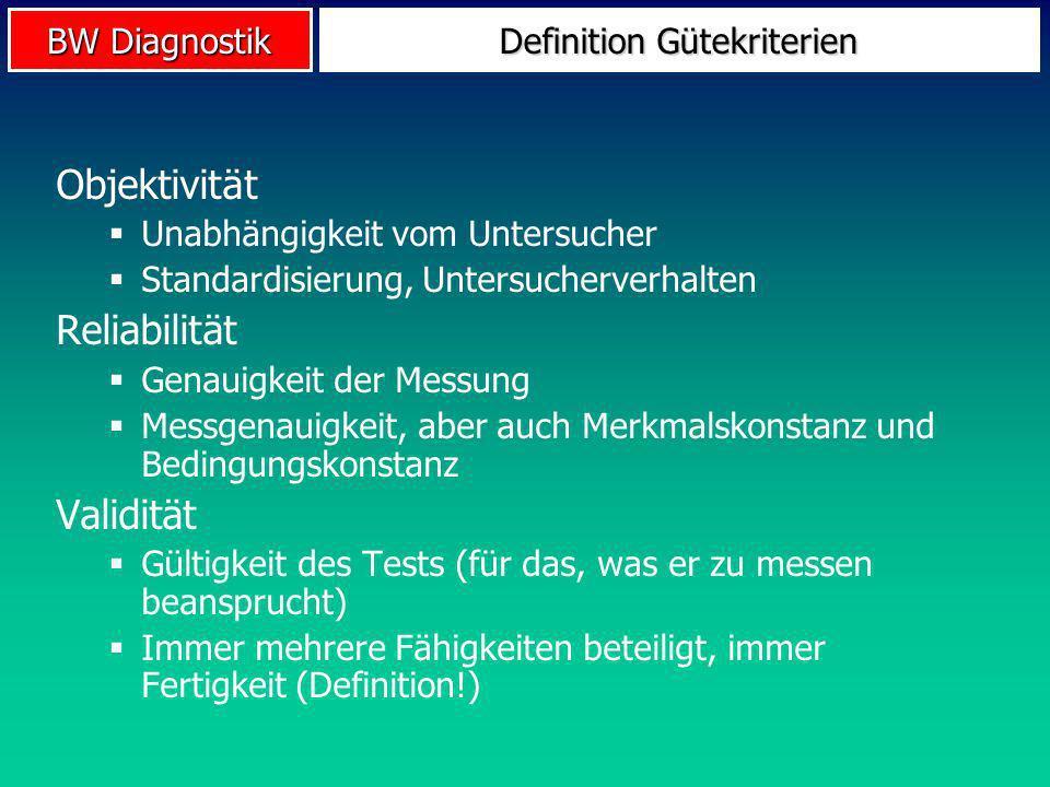 BW Diagnostik Definition Gütekriterien Objektivität Unabhängigkeit vom Untersucher Standardisierung, Untersucherverhalten Reliabilität Genauigkeit der