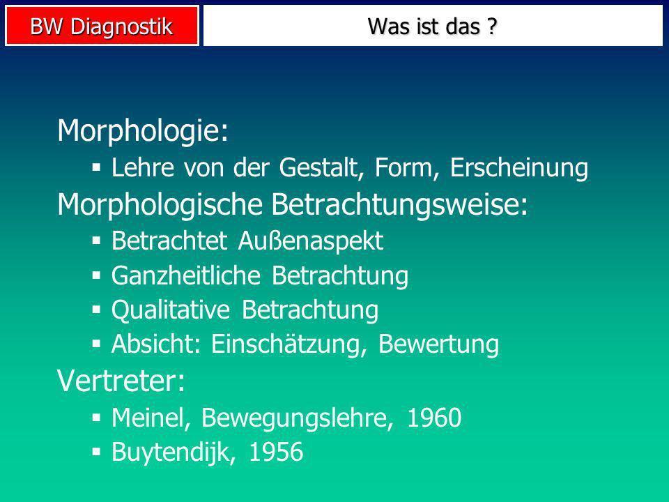 BW Diagnostik Morphologie: Lehre von der Gestalt, Form, Erscheinung Morphologische Betrachtungsweise: Betrachtet Außenaspekt Ganzheitliche Betrachtung