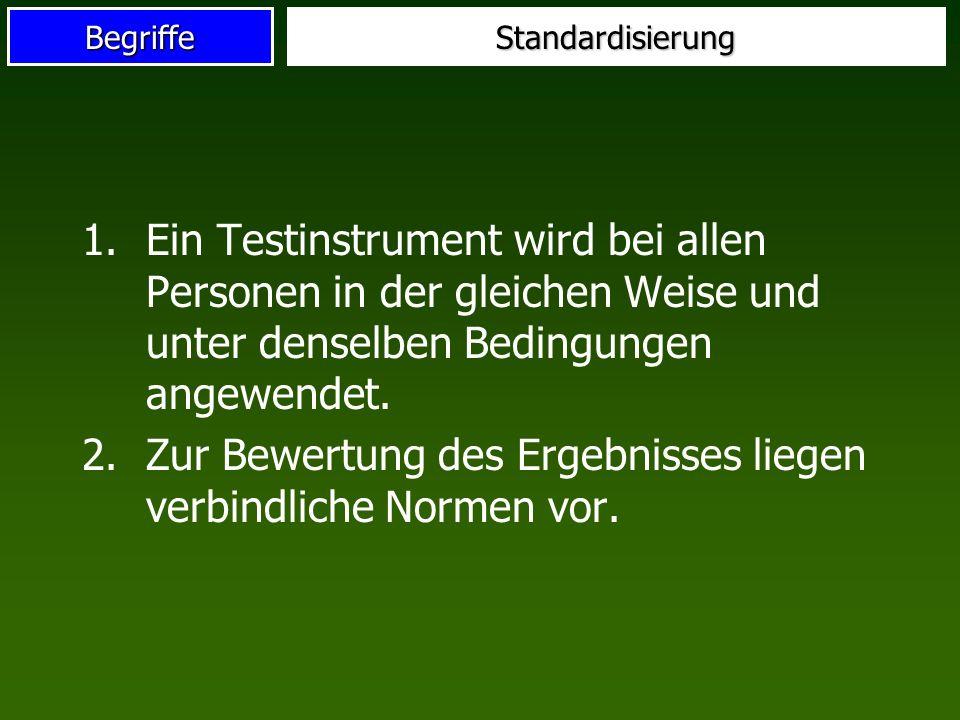 BegriffeStandardisierung 1.Ein Testinstrument wird bei allen Personen in der gleichen Weise und unter denselben Bedingungen angewendet.