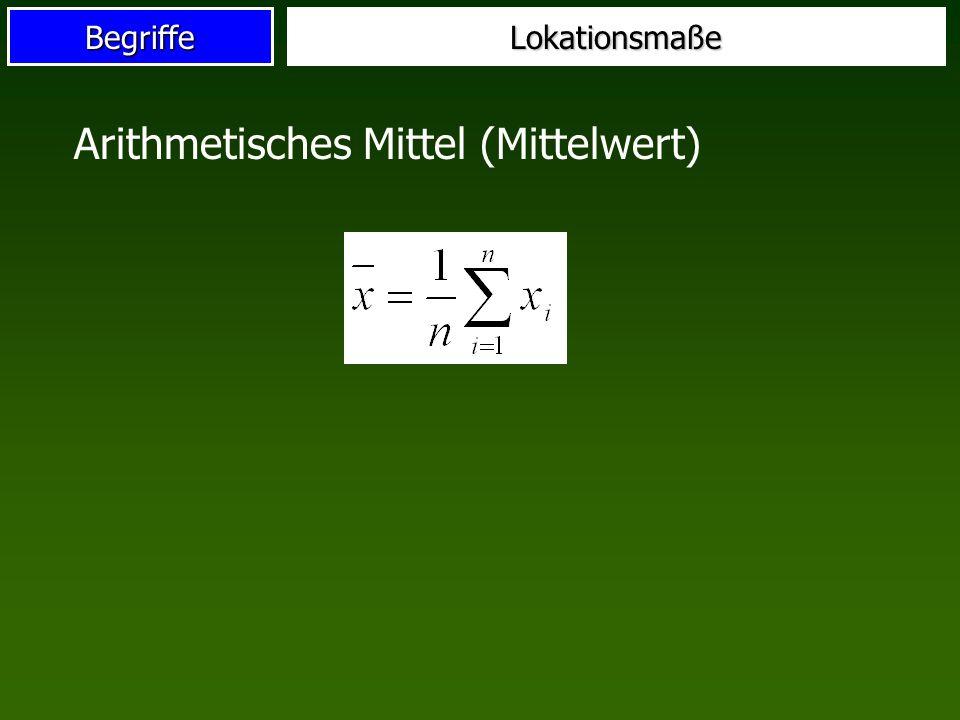 BegriffeLokationsmaße Arithmetisches Mittel (Mittelwert)