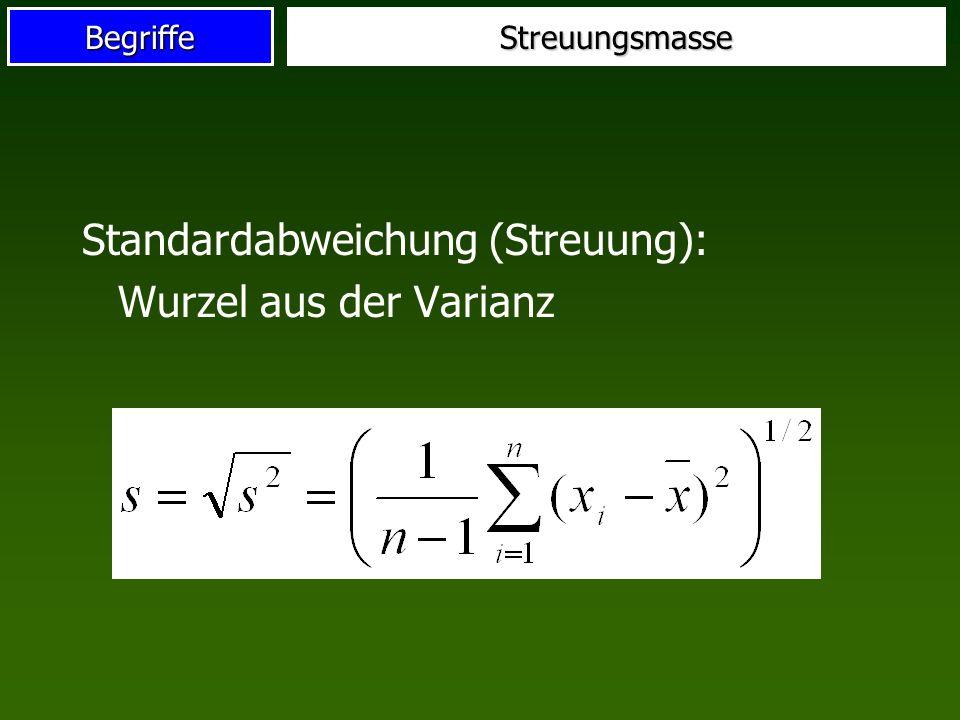 BegriffeStreuungsmasse Standardabweichung (Streuung): Wurzel aus der Varianz