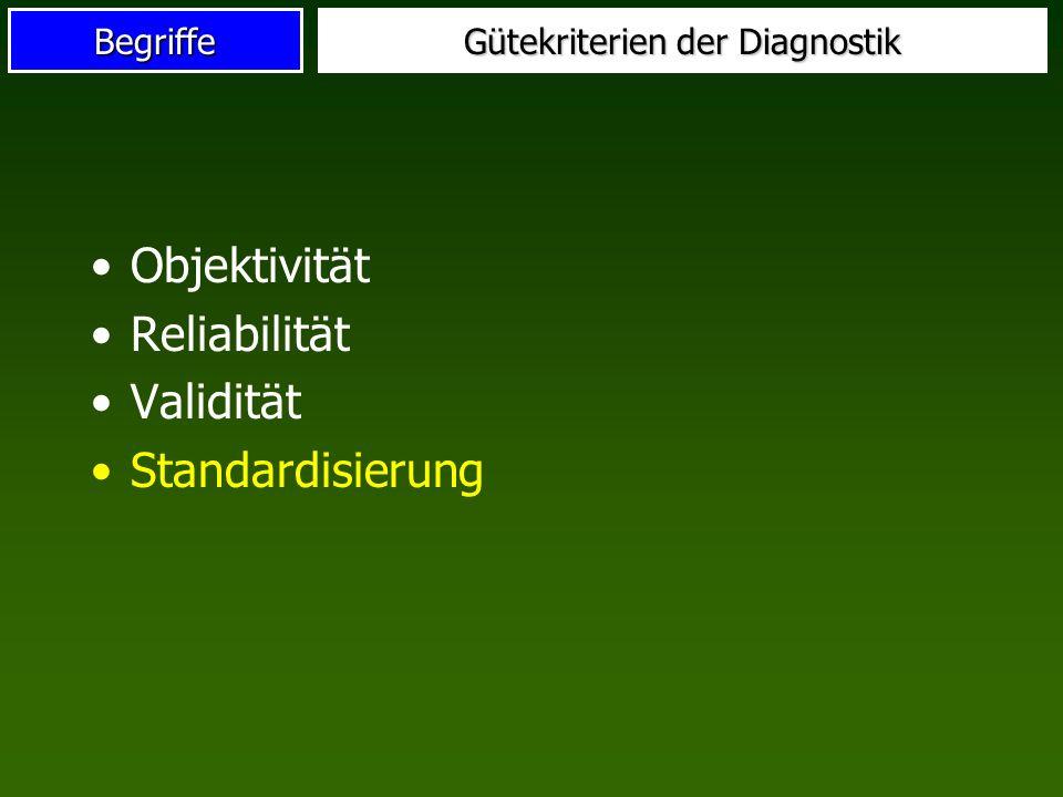 Begriffe Gütekriterien der Diagnostik Objektivität Reliabilität Validität Standardisierung