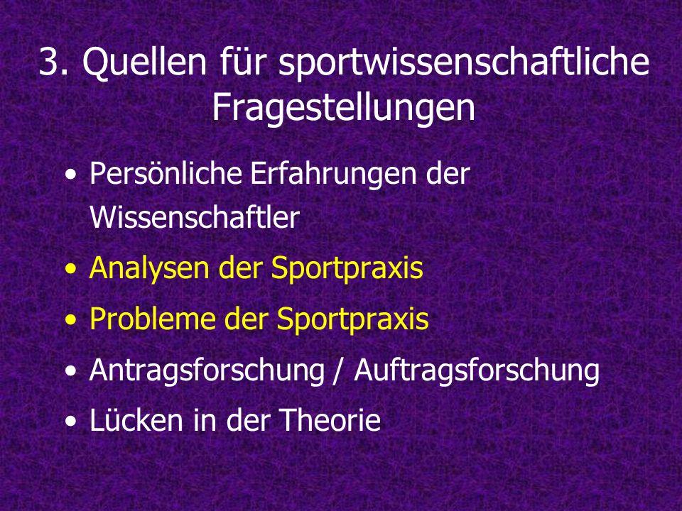 3. Quellen für sportwissenschaftliche Fragestellungen Persönliche Erfahrungen der Wissenschaftler Analysen der Sportpraxis Probleme der Sportpraxis An