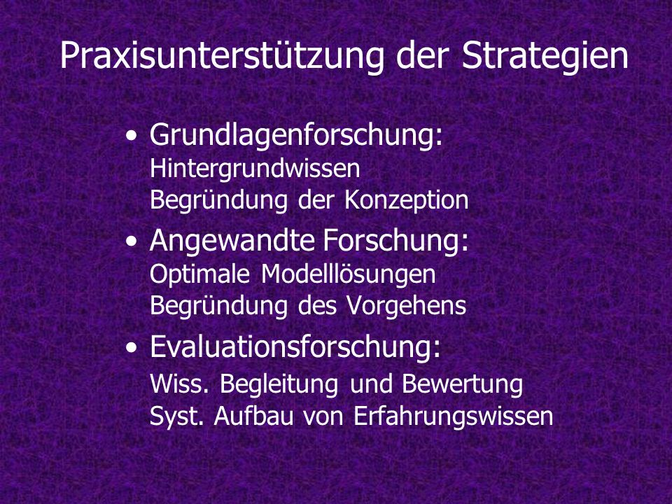Praxisunterstützung der Strategien Grundlagenforschung: Hintergrundwissen Begründung der Konzeption Angewandte Forschung: Optimale Modelllösungen Begr