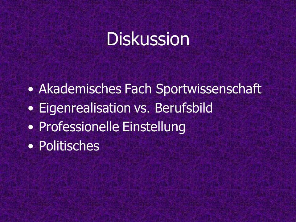 Diskussion Akademisches Fach Sportwissenschaft Eigenrealisation vs. Berufsbild Professionelle Einstellung Politisches