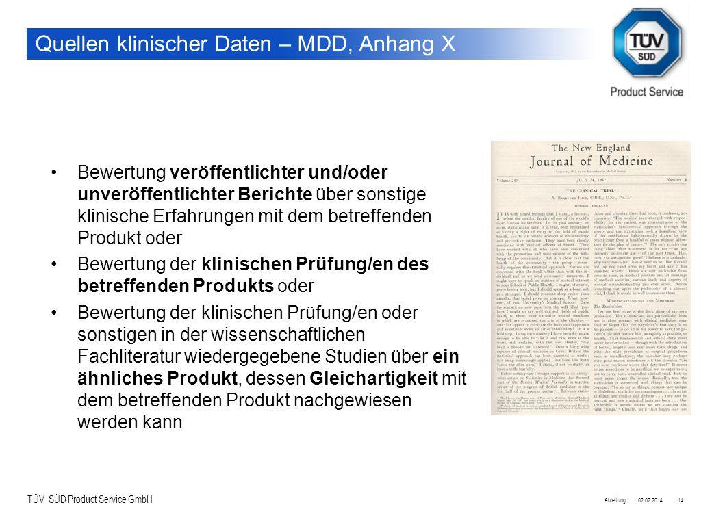 TÜV SÜD Product Service GmbH 02.02.2014Abteilung:14 Quellen klinischer Daten – MDD, Anhang X Bewertung veröffentlichter und/oder unveröffentlichter Be