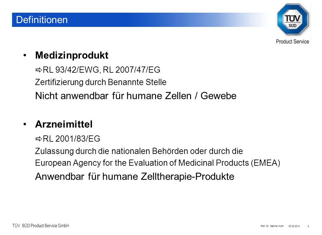 TÜV SÜD Product Service GmbH 02.02.2014Prof. Dr. Sabine Kloth4 Definitionen Medizinprodukt RL 93/42/EWG, RL 2007/47/EG Zertifizierung durch Benannte S