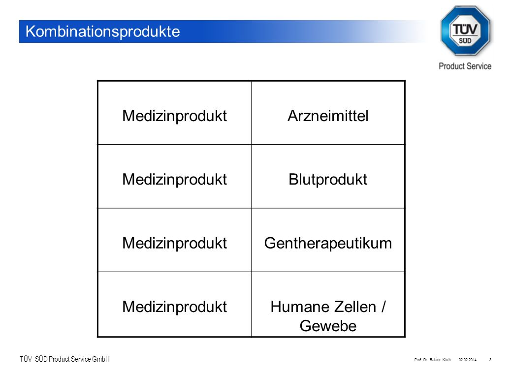 TÜV SÜD Product Service GmbH 02.02.2014Prof. Dr. Sabine Kloth8 Kombinationsprodukte MedizinproduktArzneimittel MedizinproduktBlutprodukt Medizinproduk
