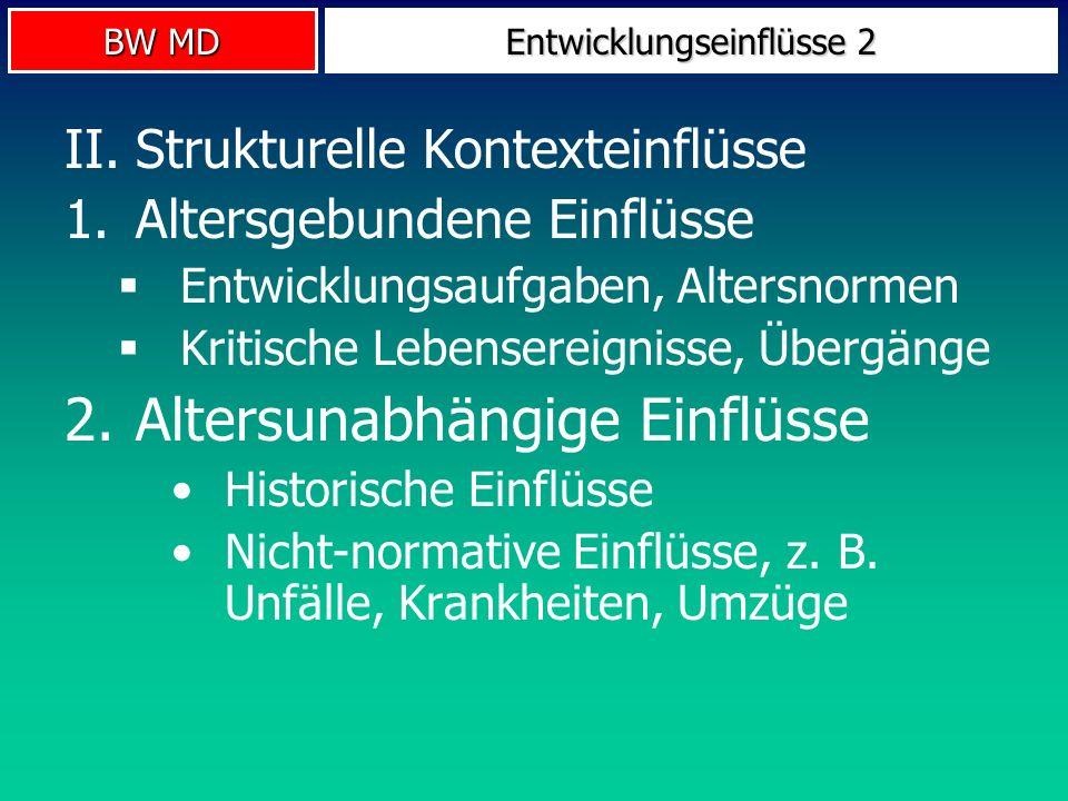 BW MD Entwicklungseinflüsse 2 II.Strukturelle Kontexteinflüsse 1.Altersgebundene Einflüsse Entwicklungsaufgaben, Altersnormen Kritische Lebensereignis