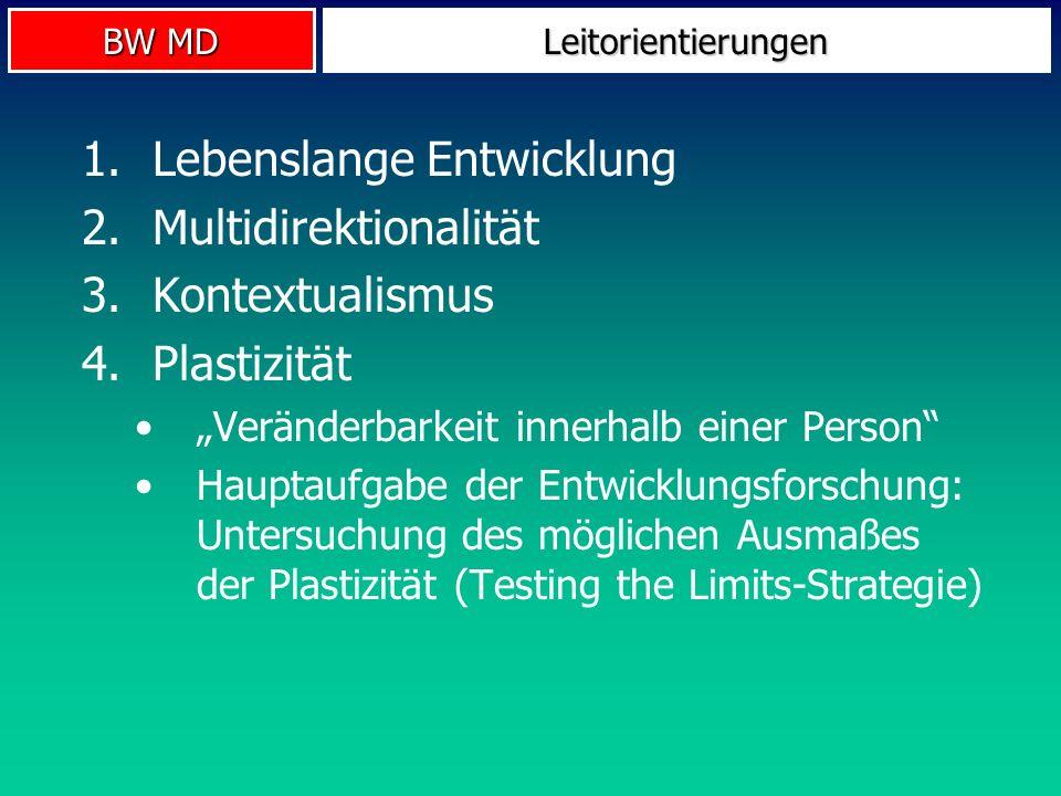 BW MD Leitorientierungen 1.Lebenslange Entwicklung 2.Multidirektionalität 3.Kontextualismus 4.Plastizität Veränderbarkeit innerhalb einer Person Haupt