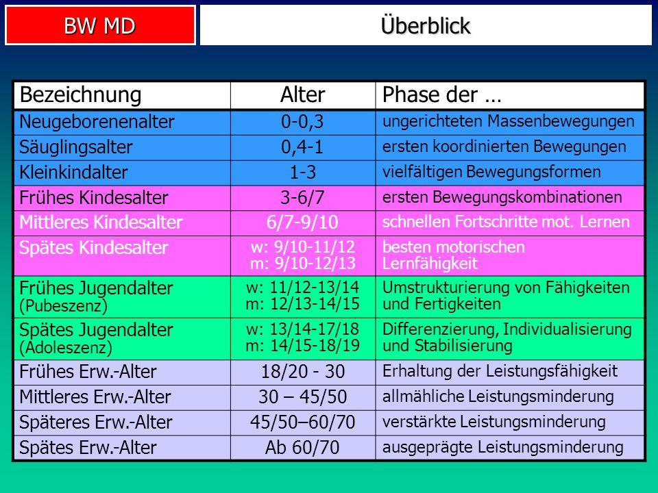 BW MD Überblick BezeichnungAlterPhase der … Neugeborenenalter0-0,3 ungerichteten Massenbewegungen Säuglingsalter0,4-1 ersten koordinierten Bewegungen
