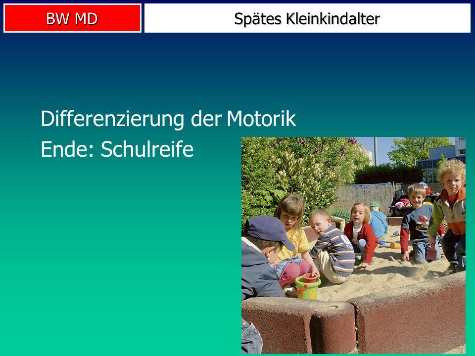 BW MD Spätes Kleinkindalter Differenzierung der Motorik Ende: Schulreife
