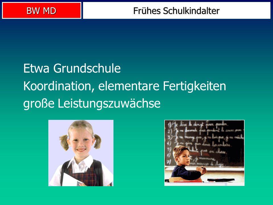 BW MD Frühes Schulkindalter Etwa Grundschule Koordination, elementare Fertigkeiten große Leistungszuwächse
