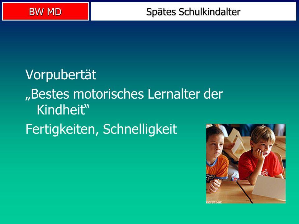 BW MD Spätes Schulkindalter Vorpubertät Bestes motorisches Lernalter der Kindheit Fertigkeiten, Schnelligkeit