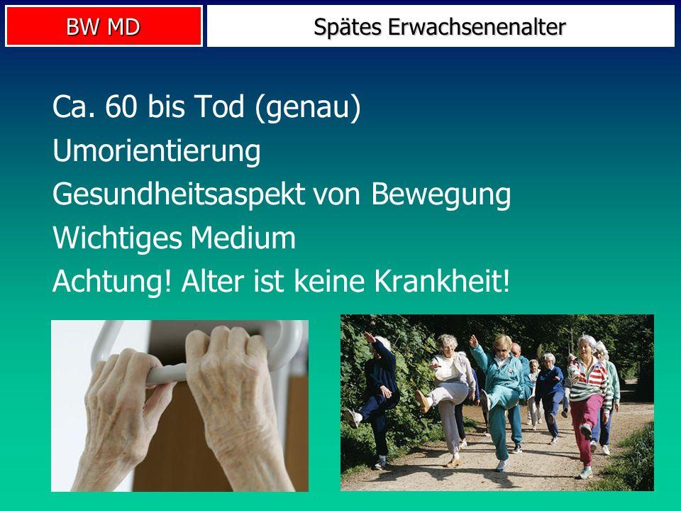 BW MD Spätes Erwachsenenalter Ca. 60 bis Tod (genau) Umorientierung Gesundheitsaspekt von Bewegung Wichtiges Medium Achtung! Alter ist keine Krankheit