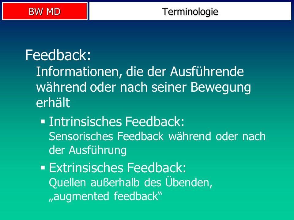 BW MD Terminologie Feedback: Informationen, die der Ausführende während oder nach seiner Bewegung erhält Intrinsisches Feedback: Sensorisches Feedback