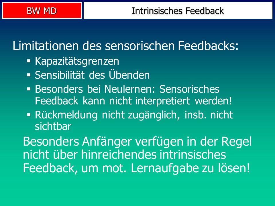 BW MD Intrinsisches Feedback Limitationen des sensorischen Feedbacks: Kapazitätsgrenzen Sensibilität des Übenden Besonders bei Neulernen: Sensorisches