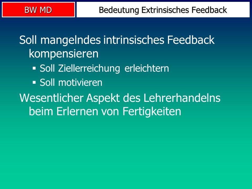 BW MD Bedeutung Extrinsisches Feedback Soll mangelndes intrinsisches Feedback kompensieren Soll Ziellerreichung erleichtern Soll motivieren Wesentlich