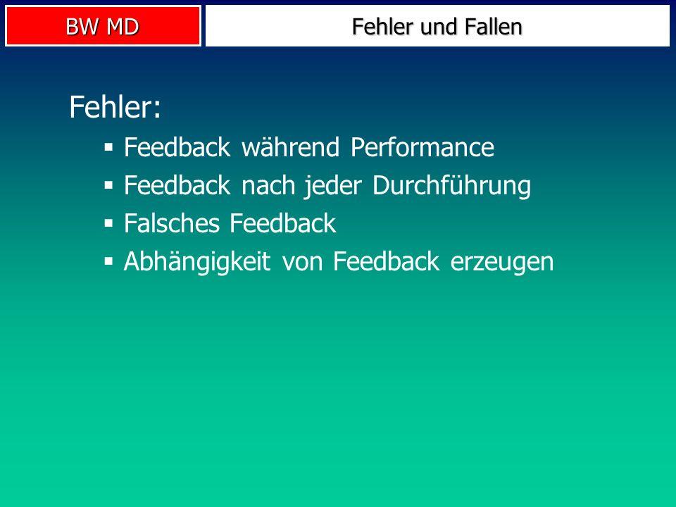 BW MD Fehler und Fallen Fehler: Feedback während Performance Feedback nach jeder Durchführung Falsches Feedback Abhängigkeit von Feedback erzeugen