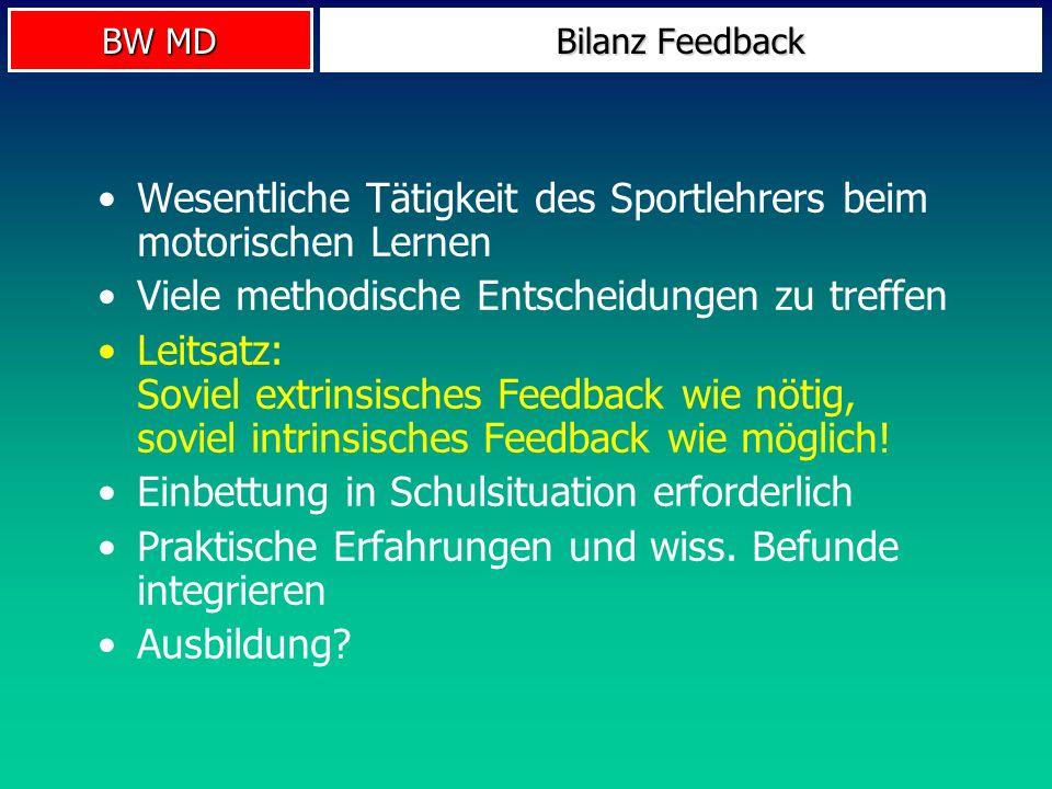 BW MD Bilanz Feedback Wesentliche Tätigkeit des Sportlehrers beim motorischen Lernen Viele methodische Entscheidungen zu treffen Leitsatz: Soviel extr