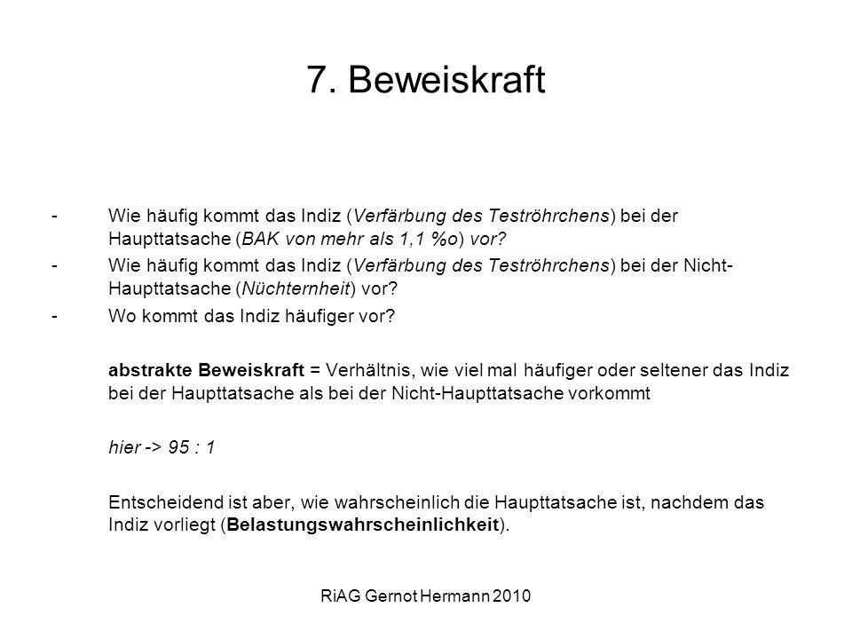 RiAG Gernot Hermann 2010 7. Beweiskraft -Wie häufig kommt das Indiz (Verfärbung des Teströhrchens) bei der Haupttatsache (BAK von mehr als 1,1 %o) vor