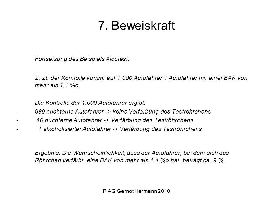 RiAG Gernot Hermann 2010 7. Beweiskraft Fortsetzung des Beispiels Alcotest: Z. Zt. der Kontrolle kommt auf 1.000 Autofahrer 1 Autofahrer mit einer BAK