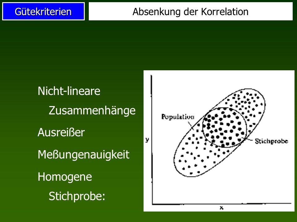 Gütekriterien Heterogene Stichprobe Ausreißer Heterogene Untergruppen Überhöhung der Korrelation