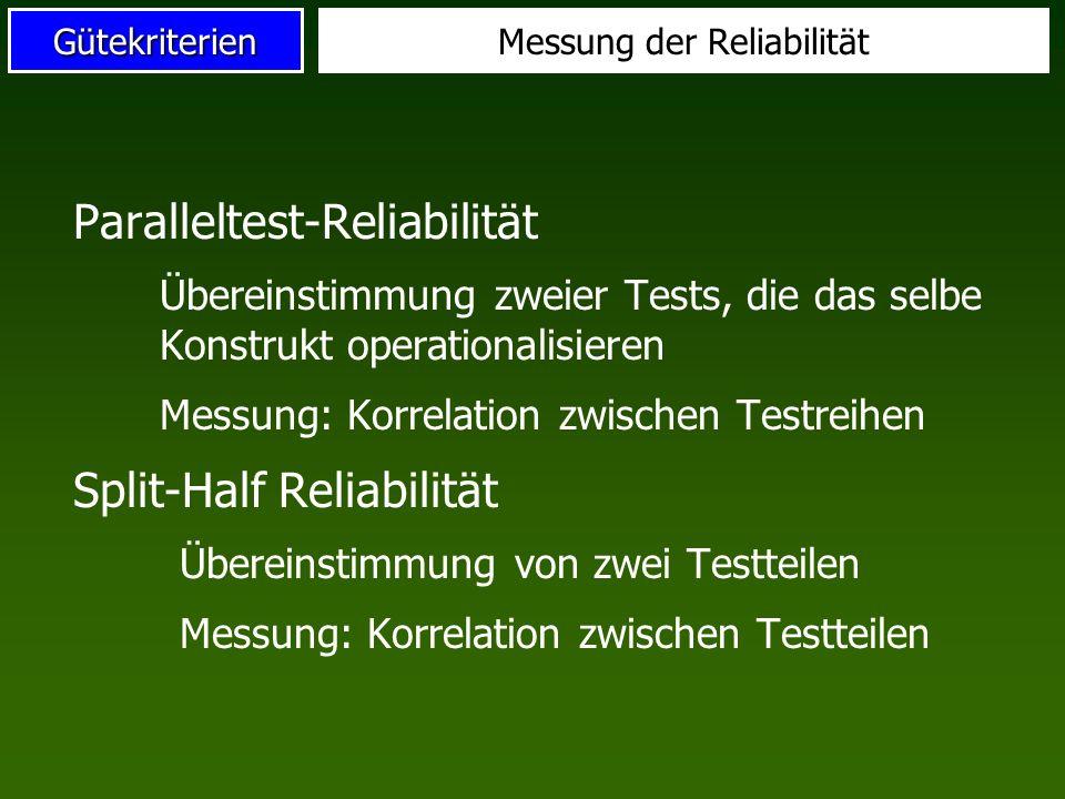Gütekriterien Retest-Reliabilität: Wiederholung des gleichen Tests an gleichen Probanden Erfassung: r tt, Korrelation der Wertepaare r tt >0.90 gut; r tt >0.70 ausreichend Retest-Reliabilität