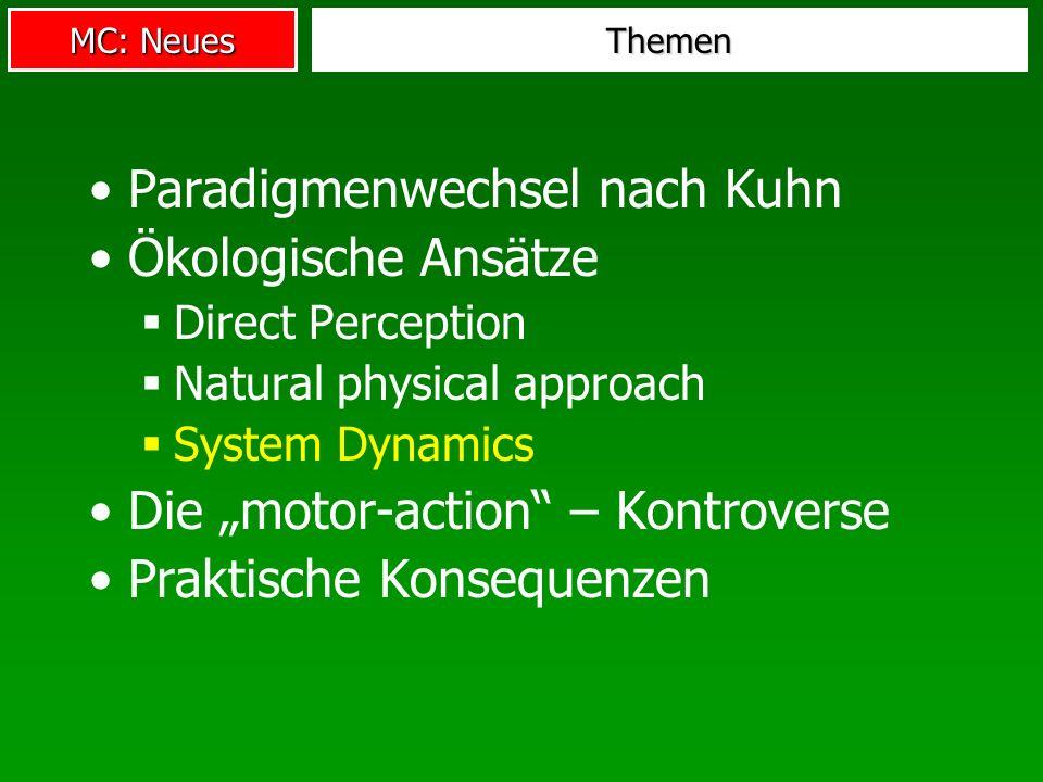 MC: Neues Themen Paradigmenwechsel nach Kuhn Ökologische Ansätze Direct Perception Natural physical approach System Dynamics Die motor-action – Kontro