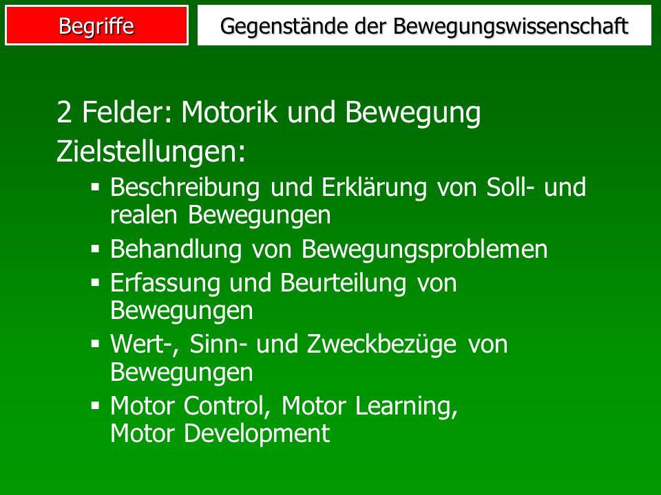 Begriffe Gegenstände der Bewegungswissenschaft 2 Felder: Motorik und Bewegung Zielstellungen: Beschreibung und Erklärung von Soll- und realen Bewegung