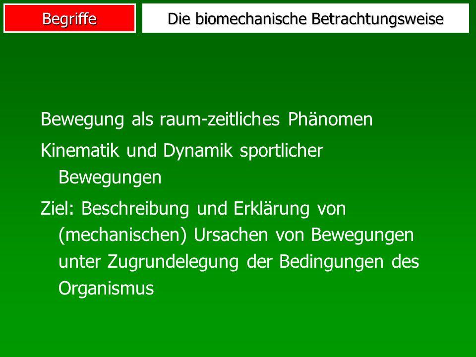 Begriffe Bewegung als raum-zeitliches Phänomen Kinematik und Dynamik sportlicher Bewegungen Ziel: Beschreibung und Erklärung von (mechanischen) Ursach