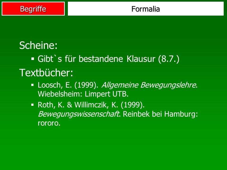 Begriffe Scheine: Gibt`s für bestandene Klausur (8.7.) Textbücher: Loosch, E. (1999). Allgemeine Bewegungslehre. Wiebelsheim: Limpert UTB. Roth, K. &