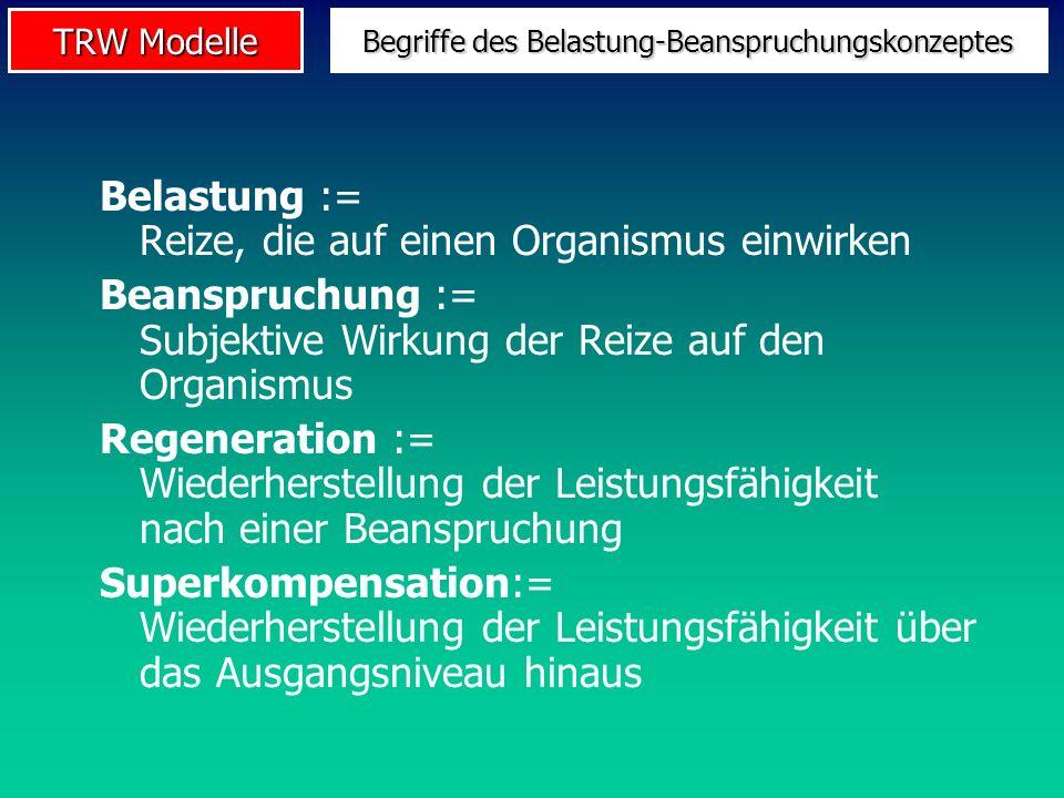 TRW Modelle Begriffe des Belastung-Beanspruchungskonzeptes Belastung := Reize, die auf einen Organismus einwirken Beanspruchung := Subjektive Wirkung