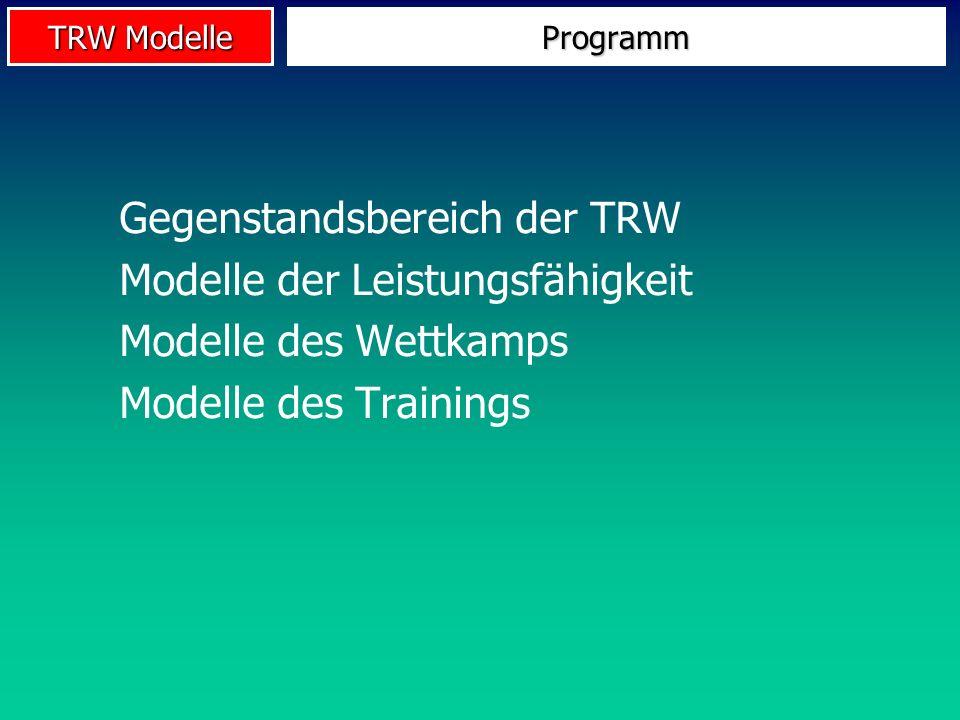 TRW Modelle Gegenstandsbereich der TRW Modelle der Leistungsfähigkeit Modelle des Wettkamps Modelle des Trainings Programm