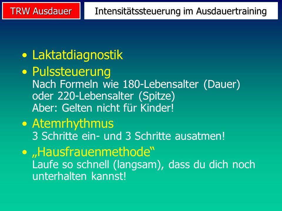TRW Ausdauer Intensitätssteuerung im Ausdauertraining Laktatdiagnostik Pulssteuerung Nach Formeln wie 180-Lebensalter (Dauer) oder 220-Lebensalter (Sp