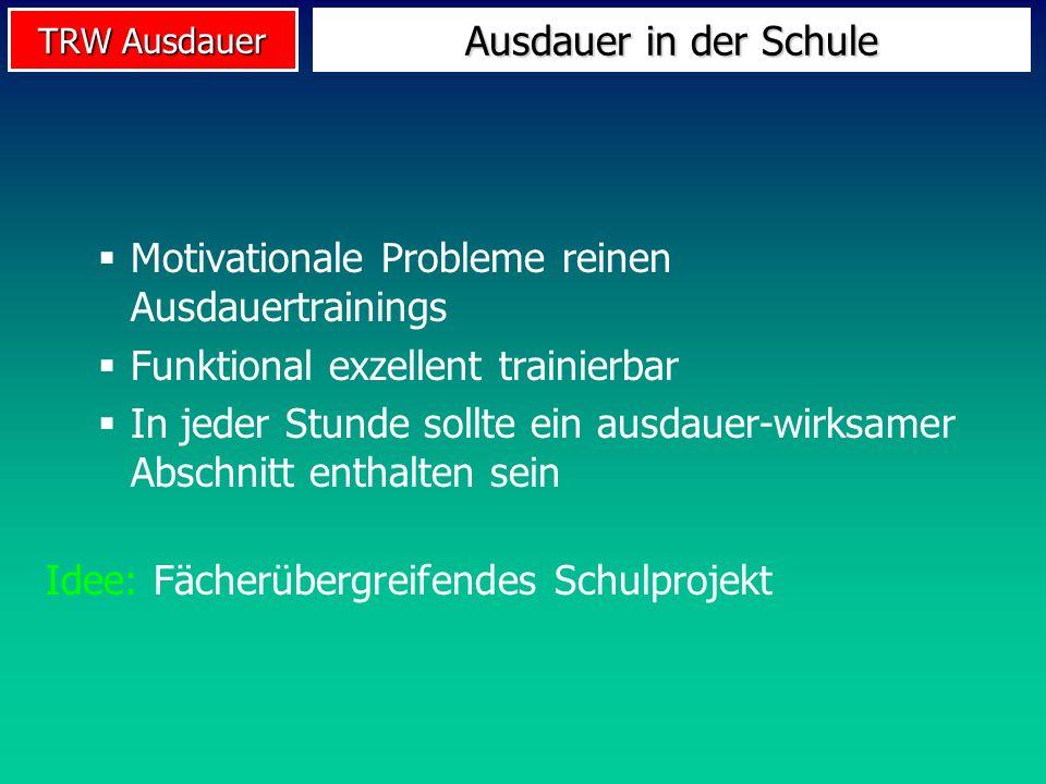 TRW Ausdauer Ausdauer in der Schule Motivationale Probleme reinen Ausdauertrainings Funktional exzellent trainierbar In jeder Stunde sollte ein ausdau