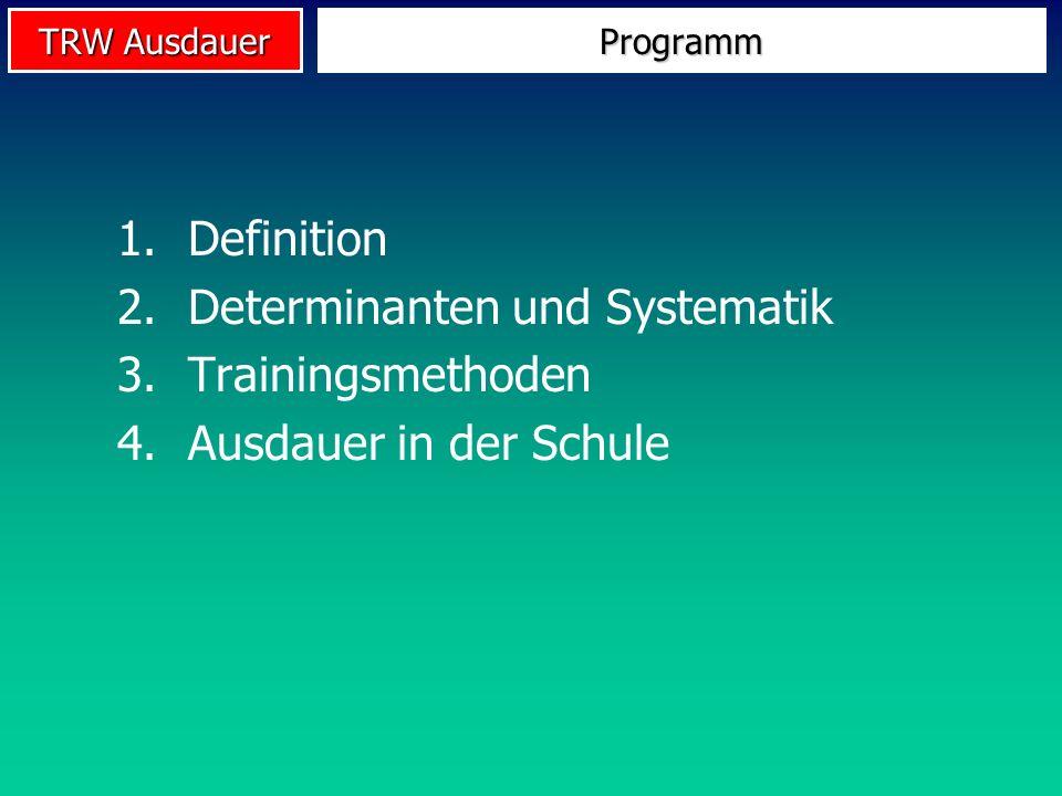 TRW Ausdauer 1.Definition 2.Determinanten und Systematik 3.Trainingsmethoden 4.Ausdauer in der Schule Programm