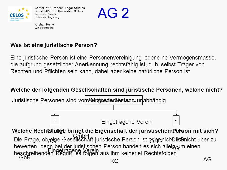 AG 2 Center of European Legal Studies Lehrstuhl Prof.
