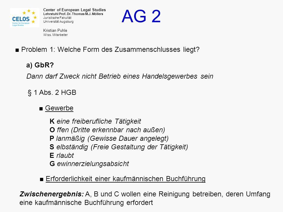 AG 2 Center of European Legal Studies Lehrstuhl Prof. Dr. Thomas M.J. Möllers Juristische Fakultät Universität Augsburg Kristian Puhle Wiss. Mitarbeit